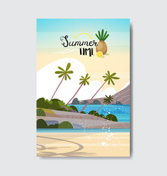 summer landscape palm tree beach sunrise badge vector image