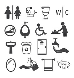 Toilet and bathroom icons set vector