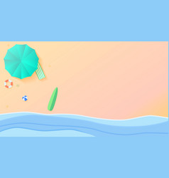 top view on sea and beach seashore with sun vector image