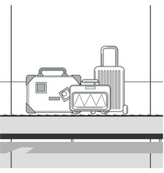 travel bag case or suitcase on line in airport vector image