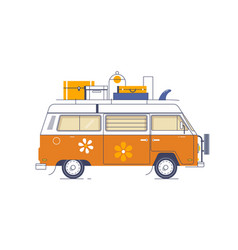 van car with baggage and surfboard on a roofflat vector image