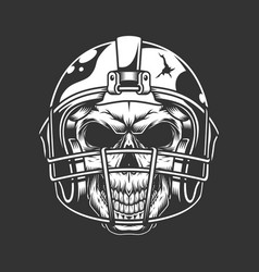 vintage american football player skull vector image