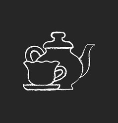 Vintage style tableware chalk white icon on dark vector