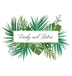 Wedding floral invite card with green palm leaves vector