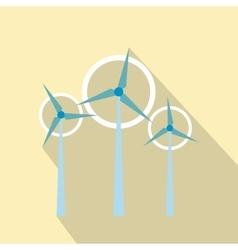 Wind turbine flat icon vector
