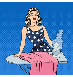 Woman Ironing Clothes Girl Doing House Work vector