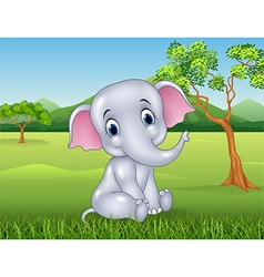 Cartoon funny baby elephant in the jungle vector image vector image