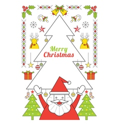 Christmas and Santa Clause Line Style Poster vector image vector image
