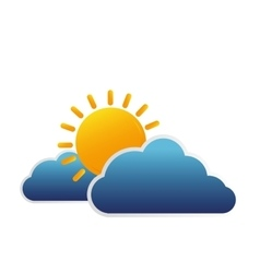 clouds and sun isolated icon vector image