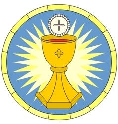 Eucharist Christian Symbol circular emblem vector image vector image