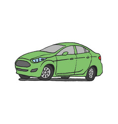 green car doodle vector image