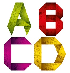 Origami alphabet letters A B C D vector image vector image