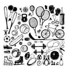 sport sketch equipment hand drawn vector image