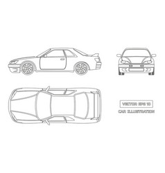 contour drawing of the car on a white background vector image