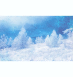 watercolor winter landscape on white vector image vector image