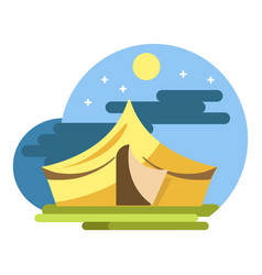 yellow camping tent under night sky flat vector image