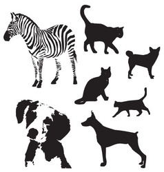 animal silhouette set vector image vector image