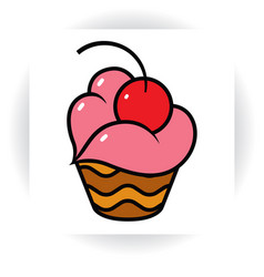 chocolate cupcake with cream in shape of lips vector image