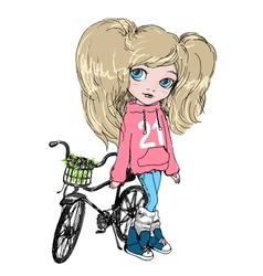 Girl with a Bicycle vector image vector image
