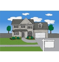 Hand drawn Real estate house vector image vector image