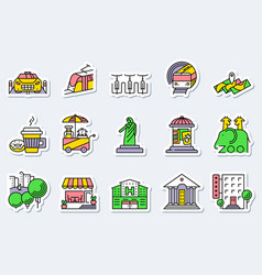 Locations and city icons set in line simple and vector