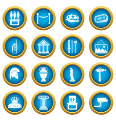 museum icons blue circle set vector image