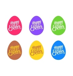 Set of flat easter eggs isolated on white vector image