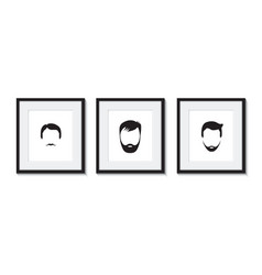 set of three bearded men icons vector image