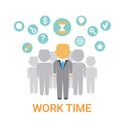 Work time icon working process organization vector