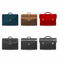 briefcases set with shadows coloful and vector image