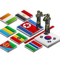 isometric representation of militarized border vector image vector image