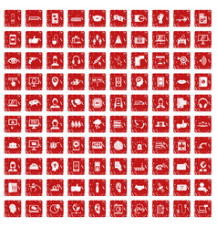 100 call center icons set grunge red vector
