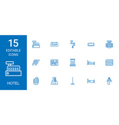15 hotel icons vector