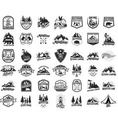 42 camping hiking and tourism emblems vector