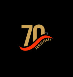 70 year anniversary gold template design vector