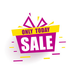 Banner mega sale red gift box says sale only today vector