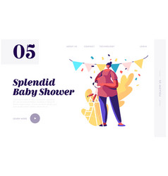 Bashower party website landing page girl vector