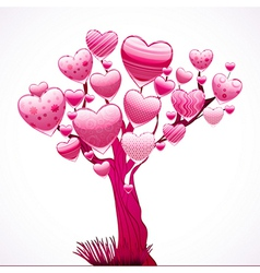 Beautiful tree with a crown of shiny hearts vector image
