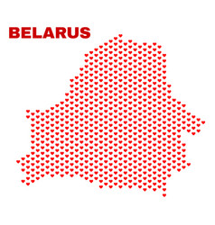 belarus map - mosaic of love hearts vector image