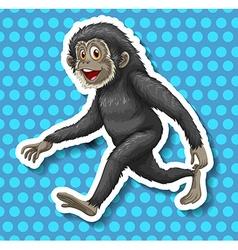 Black monkey walking and smiling vector image