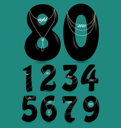 Black numbers with pearl necklaces and texts vector