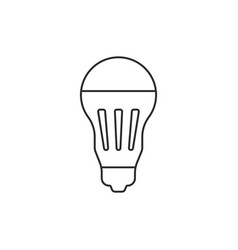 black thin line led bulb icon vector image