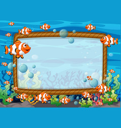 Blank frame template with exotic fishes cartoon vector