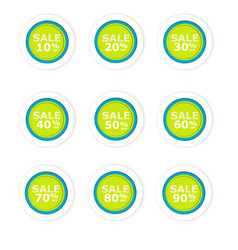 blue and green circular discount paper labels vector image