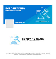 Blue business logo template for auction gavel vector