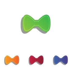Bow Tie icon Colorfull applique icons set vector image