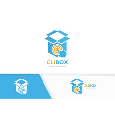box and click logo combination package vector image