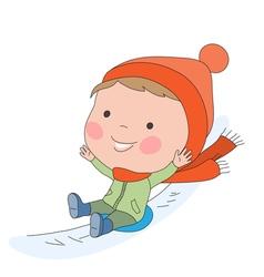Boy sledding vector