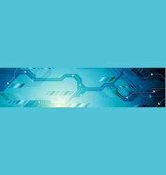 bright blue abstract technology banner design vector image