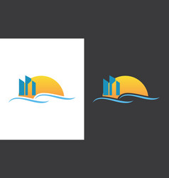 building sunrise logo vector image